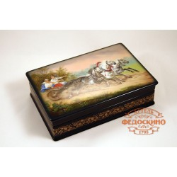Russian Painted Box with a picture of three gray