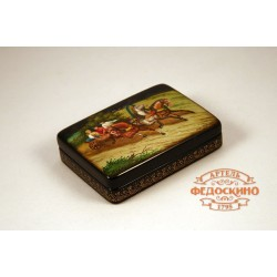 Russian Painted Box with a picture of three flying