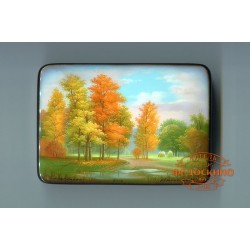 Russian Painted Box with the image - Autumn landscape