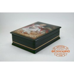Russian Painted Box with a picture of a Girl with dogs