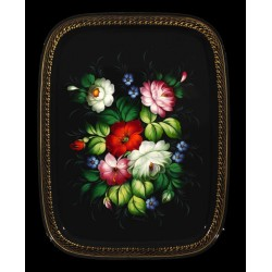 Zhostovo rectangular hand-painted floral tray
