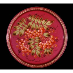 Zhostovo round hand-painted floral tray