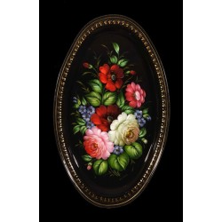 Zhostovo oval hand-painted floral tray