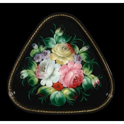 Zhostovo triangular hand-painted floral tray