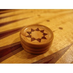 Draughts Boxwood and Mahogany, diameter 40 mm