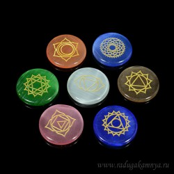 Chakras collection of 7 pieces of Ulexite 25 * 25mm