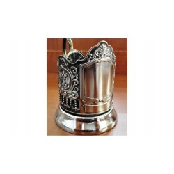 "Nickel-plated Cup holder ""Engraving"" with the coats of Arms of the Russian Federation niello"