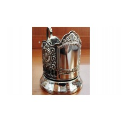 "Nickel-plated Cup holder ""Engraving"" with the arms of the USSR niello"