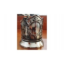 "Nickel-plated Cup Holder ""Winter Sports"" under the engraving niello"