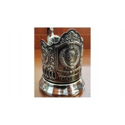"Silver-plated Cup Holder ""USSR Coat of Arms"" niello"
