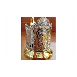 "Nickel-plated Cup Holder ""Grouse"" with gilding"