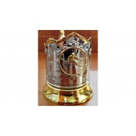 """Nickel-plated Cup Holder """"Skier"""" with gilding"""
