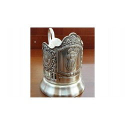 "Silver-plated Cup Holder ""Olympic Bear"" niello"