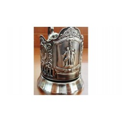 "Nickel-plated Cup Holder ""Worker and Farm Girl"" niello"