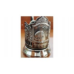 "Nickel-plated Cup Holder ""Peregrine Falcon"" niello"