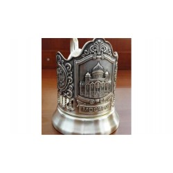 "Silver-plated Cup Holder ""Temple of Christ the Savior"" niello"
