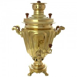 "Charcoal samovar 1,3 gal yellow ""Cone"" faceted, art. 230539 + pipe for free"