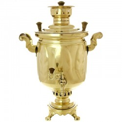 "Charcoal samovar 1,3 gal yellow ""Cylinder"", ""leaves"", art. 220 538 with a pipe"