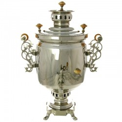 "Charcoal samovar 1,3 gal ""Cylinder"" nickel ""leaves"" with openwork handles, art. 220618"