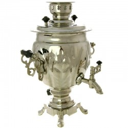 "A set ""Silver fantasy"": samovar electric 3 liters Nickel-plated with Cup holders ""Moscow Stations"", art. 130450п"