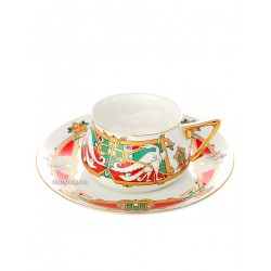 "Cup and saucer for tea, shape ""Bilibin 1"", pattern ""Fabulous bird"", the Imperial porcelain factory"