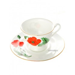 "Cup and saucer for tea, shape ""Isadora"", pattern ""Cardinal"", the Imperial porcelain factory"