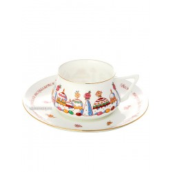 "Cup and saucer for tea, shape ""Bilibin"", pattern ""Cake-city"" Imperial porcelain factory"