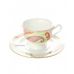 "Cup and saucer for tea, shape ""Isadora"", pattern ""Marienthal purple"" Imperial porcelain factory"