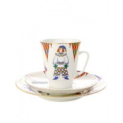 "Coffee set: a cup and two saucers, shape ""May"", pattern ""ballet Petrushka"" Imperial Porcelain Factory"