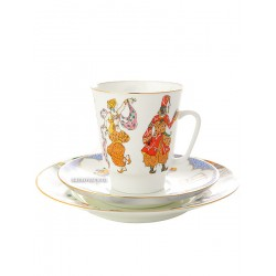 "Coffee set: a cup and two saucers, shape ""May"", pattern ""Ballet Shaherazada"" Imperial Porcelain Factory"