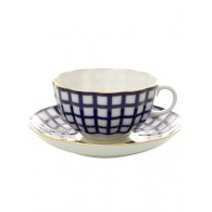 "Service for tea, shape ""Tulip"" pattern ""Cobalt cell"" 6/20, Imperial Porcelain Factory"
