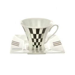 "Cup and saucer for tea, shape ""Petropol"", pattern ""Black and white"", Imperial porcelain factory"