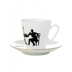 "Coffee cup with saucer, shape ""Black Coffee"", pattern ""Guest"", a series ""Silhouettes"", the Imperial Porcelain Factory"