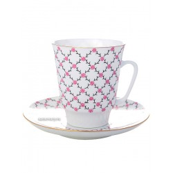 "Cup and saucer for tea, shape ""May"", pattern ""Pink mesh"" Imperial porcelain factory"