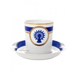 "Cup and saucer for tea, shape ""Seal"", pattern ""Cabins company No. 5"" Imperial porcelain factory"