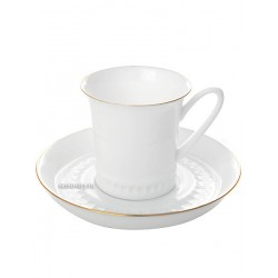 "Coffee cup and saucer (coffee couple), shape ""Vertical"" pattern ""Gold slips"" Imperial Porcelain Factory"