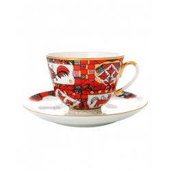 "Cup and saucer for tea, shape ""Spring"", pattern ""Red horse"", Imperial porcelain factory"