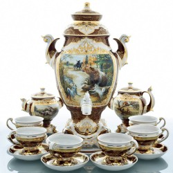 "Samovar in a set ""Bear Hunting"" for 6 persons, art. 0022227"