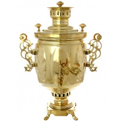 "Tula charcoal samovar 1,3 gal yellow ""Cylinder"", ""leaves"" with openwork handles, factory stamp, art. 211007"