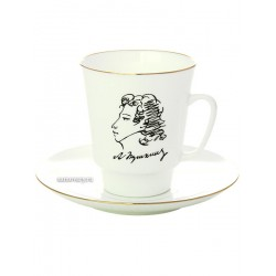 "Coffee cup with saucer, shape ""May"", pattern ""Pushkin"", the Imperial Porcelain Factory"