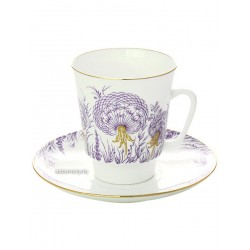 "Coffee cup with saucer, shape ""May"", pattern ""Dandelions"" Imperial Porcelain Factory"