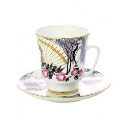 "Coffee cup with saucer, shape ""May"", pattern ""Dedication to Anna Andreevna"", the Imperial Porcelain Factory"