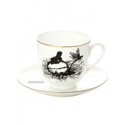 "Coffee cup with saucer, shape ""Lily"" pattern ""Dragonfly"", a series ""Silhouettes"", the Imperial Porcelain Factory"