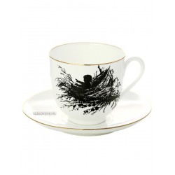 "Coffee cup with saucer, shape ""Lily"" pattern ""Nest"", a series ""Silhouettes"", the Imperial Porcelain Factory"