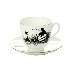 "Coffee cup with saucer, shape ""Lily"" pattern ""Boy"", a series ""Silhouettes"", the Imperial Porcelain Factory"