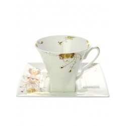 "Cup and saucer for tea, shape ""Petropol"", pattern ""the Firebird"", the Imperial porcelain factory"