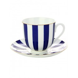 "Coffee cup with saucer, shape ""Lily"" pattern ""Yes and No Cobalt"" Imperial Porcelain Factory"