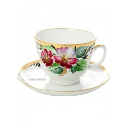 "Cup and saucer for tea, shape ""Gift"", pattern ""Hope"", Imperial porcelain factory"