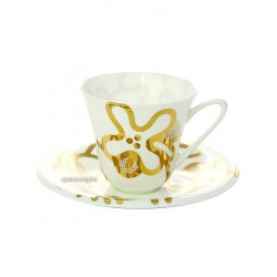 "Cup and saucer for tea, shape ""the Garden"", pattern ""Emilia gold"" Imperial porcelain factory"