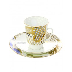 "Coffee set: a cup and two saucers, shape ""May"", pattern ""French motive"" Imperial Porcelain Factory"